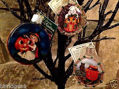 *Set of 3 Inside Art - Halloween #1* Old World Christmas Glass Ornament - NEW