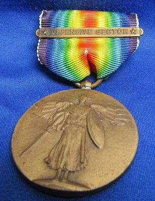 WWI Victory Medal and Ribbon With Defensive Sector Bar GREAT SHAPE