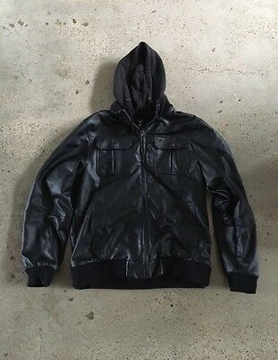 Obey Faux Leather hooded Jacket - worn once. XL slim fit.