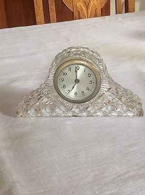 Diamond Cut Glass Mantle Clock