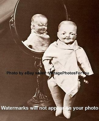 Old/Vintage/Antique Creepy/Weird/Odd/Scary 1920 2 faced Composition Doll Photo