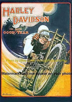 1918-'27 Vintage/Antique Harley Davidson Motorcycle Bike Goodyear Tires Ad Photo