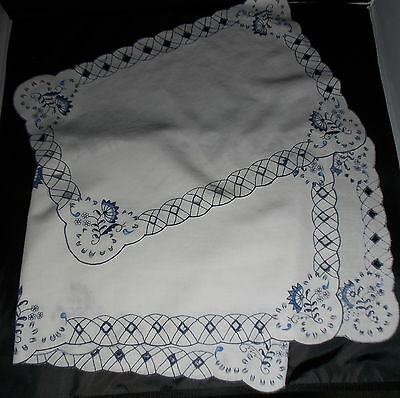 "Blue Danube Onion Cotton 68"" Runner & Placemat Blue White Embroidered Needlework"