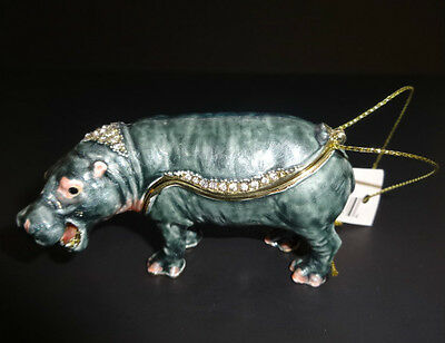 New TREASURES Handpainted Metal HIPPO Figurine Trinklet Box with Necklace
