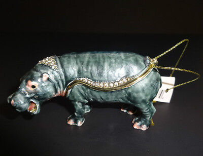 TREASURES Handpainted Metal HIPPO Figurine Trinket Box with Necklace