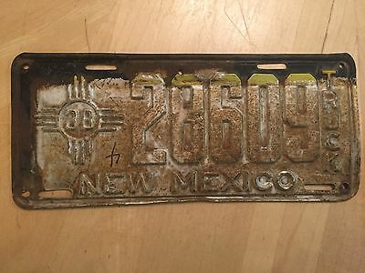 "1938 New Mexico Truck License Plate "" 28609 "" Nm 38 Ready To  Be Restored"