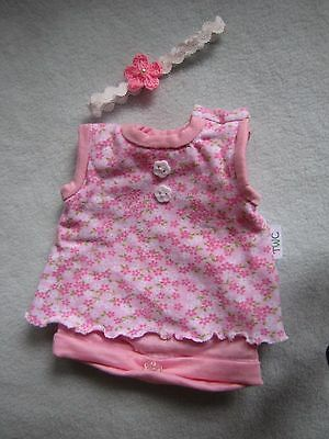 "10"" Onesie With Headband- Handmade Reborn Doll Outfit/ Clothes"