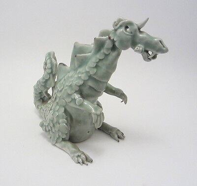 Celadon Dragon Hand Built Studio Pottery Porcelain Sculpture