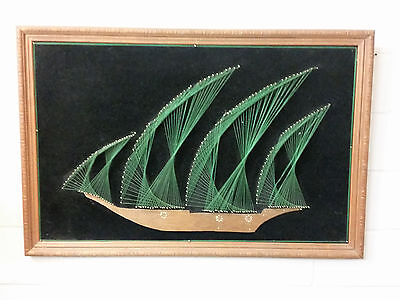 MID CENTURY STRING ART NAUTICAL SHIP SAILING FRAMED VINTAGE 60s