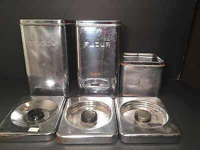 Canister Lot 6 Pieces Vintage Aluminum MCM Kitchenware Silver Containers and Lid