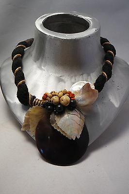 Vintage Hand Crafted Artisan Hawaiian Necklace With Coral Mother Of Pearl  Shell