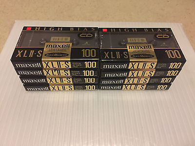 Set Of 8 New Sealed Maxell XLII-S 100  Cassette Tape Made in Japan