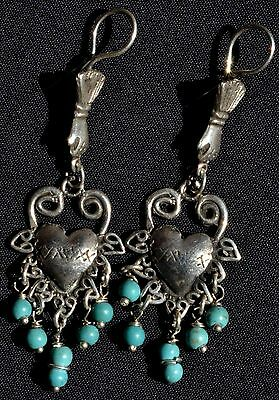 Taxco Mexican Sterling Silver Bird Earrings Frida Kahlo Style Design Jewelry