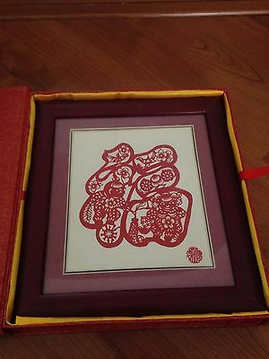 Traditional Vintage Chinese PaperCut New Year Happiness Craft+Frame Excel.Cond.