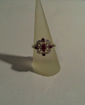 9ct Yellow Gold - Vintage - Ornate 0.50ct Genuine Ruby & Diamond Ring - Size O