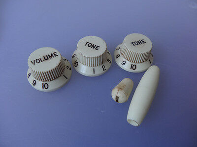 Relic Aged White Stratocaster Strat Style Fender Guitar Control Knobs USA