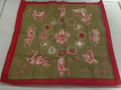 Boy Scouts Rare Kerchief Red Green White BSA
