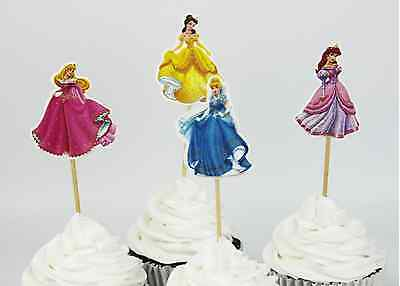24 X Disney Princesses  toppers Cupcake Cup Cake Topper Party decoration