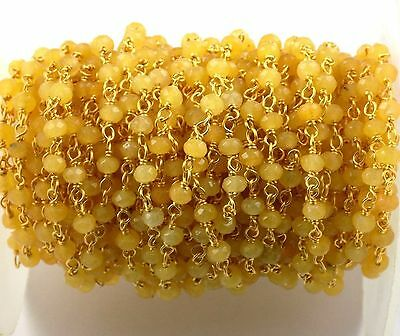 10 Feet Yellow Chalcedony Faceted Rosary StyleWire Wrapped Gemstone Beaded Chain