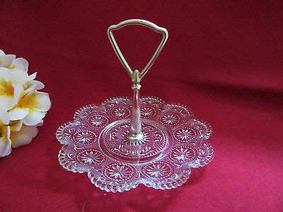 VINTAGE SMALL GLASS PLATE with CENTRE HANDLE - SWEETS CUP CAKES CANDY