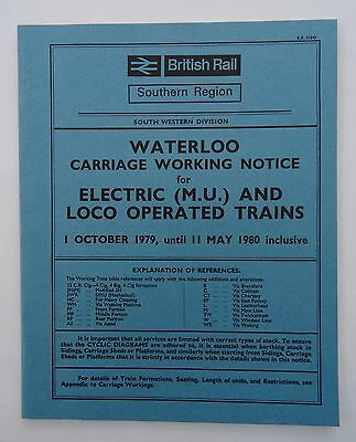 British Rail Southern Region Carriage Working Notice Suburban Lines 1979 SW