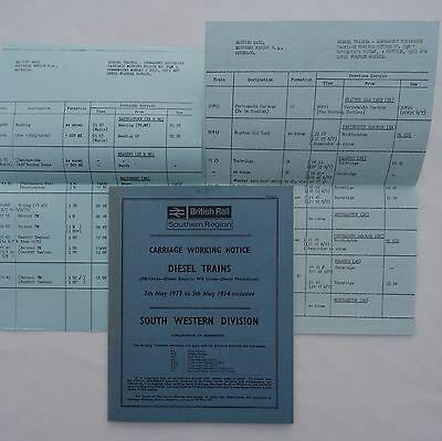 BR Southern Region Carriage Working Notice Suburban Lines 1973 SW +2 Supplements