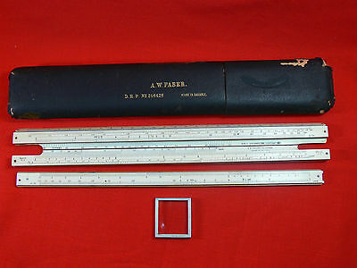Vintage AW FABER 378 Slide Rule with Case - Made in Bavaria, Germany - 1912-1929