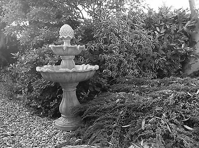 Two Tier Cascading Water Fountain Stone Effect; Tiered Feature 2 Level