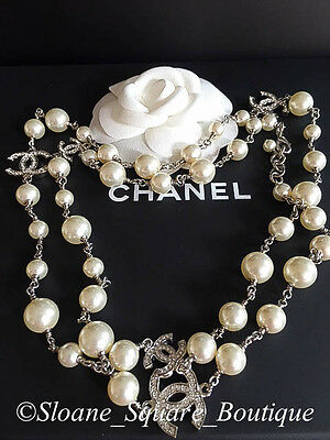 """CHANEL CLASSIC 5 SILVER CRYSTAL  CC's WHITE PEARL 42"""" LONG NECKLACE CATWALK"""