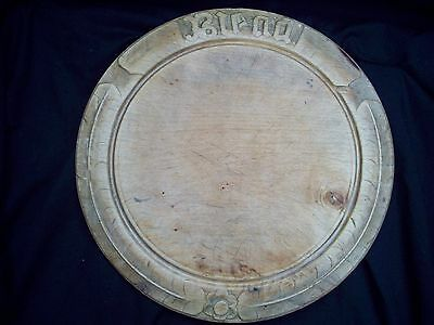 Vintage Wooden BREAD BOARD Cake Cheese Round 29cm Carved Cornflower Grooved Ring