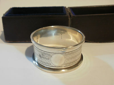 Sterling Silver Napkin Ring Engine Turned Cased Boxed Birmingham 1949 FREEP&P