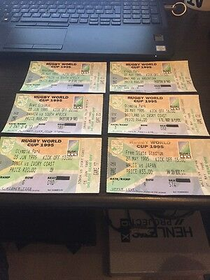 6 x Rugby World Cup (RWC) 1995 Ticket - Rare Inc. South Africa/ Australia etc.