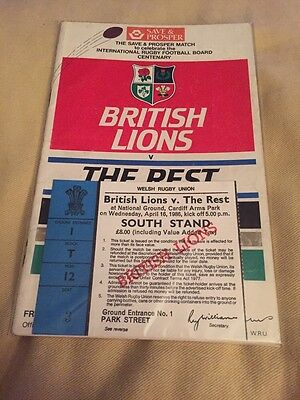 British Lions Programme 1986 V The Rest With Ticket