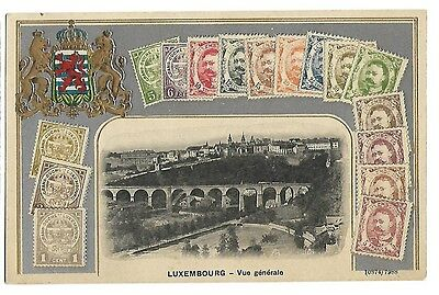 ...Jolie cpa...16 TIMBRES..ARMOIRIE...LUXEMBOURG...VUE GENERALE...