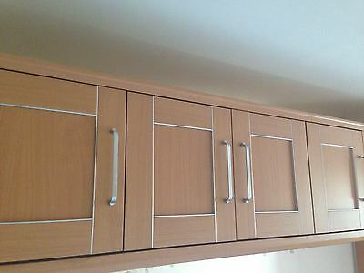 Beech - Overhead bedroom wardrobes with bedside tables