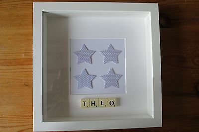 Personalised picture frame STARS /new baby /christening /nursery /scrabble tiles