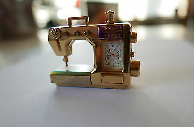 Vintage Miniature Sewing Machine Clock Brass Collectible