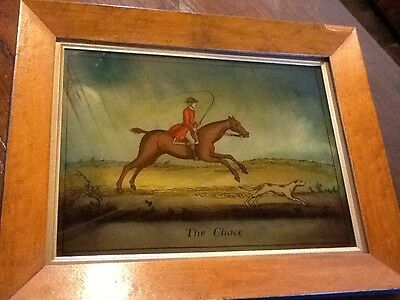 ANTIQUE Crystoleum/Glass Painting Hunting Scene.
