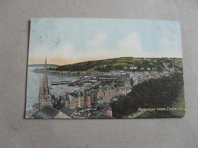 Vintage Postcard - Scotland - Bute - Rothesay - Aerial View - Houses - Boats