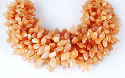 1 Strand Natural Peach moonstone marquise shape 6X12mm briolette 9 Inch Long