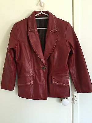 Genuine Red Leather Jacket By Dormeuil England Fully Lined Size 10 Excellent Con