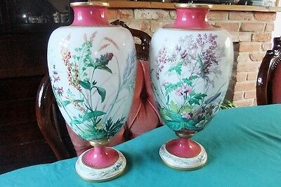 MAGNIFICENT PAIR C.F.HURTEN vases made for prestigious Great Exhibition 1871.