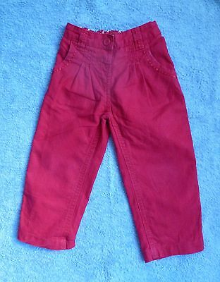 Childrens/kids clothes GIRL 2-3 years crimson roll-up adjustable waist trousers