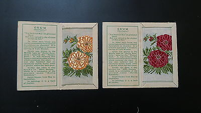 """Variety Pair of Wix Silks Small """"Geum"""" First Series issued 1934"""