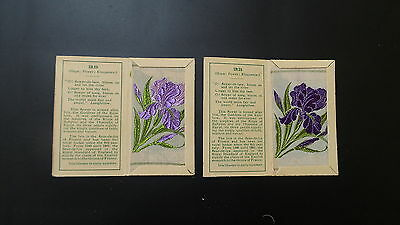 """Variety Pair of Wix Silks Small """"Iris"""" First Series issued 1934"""