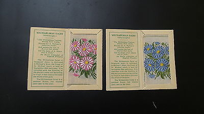 """Variety Pair of Wix Silks Small """"Michaelmas Daisy"""" First Series issued 1934"""