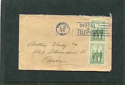1940 Aurtralian Armed Forces 2X 1d Stamps on cover
