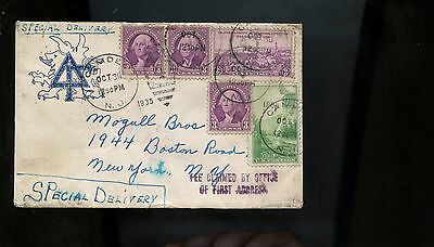 US SPECIAL DELIVERY Cover 1935 Camden, NJ to NYC with good backstamps