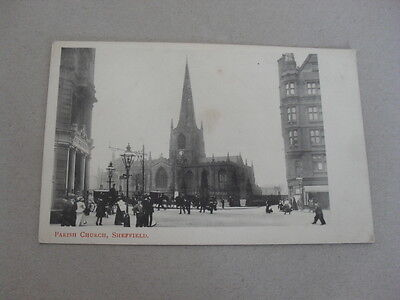 Old Postcard - Sheffield - Cole Brothers - Shop Front - Parish Church - People