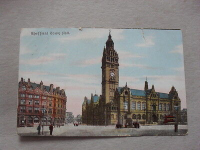 Vintage Postcard - Sheffield - Town Hall - Albany Hotel - People